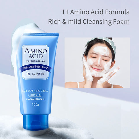 HANAJIRUSHI Amino Acid Foam Cleanser Hyaluronic Acid Face Wash For Dry Skin Oil Skin Combination Skin  Limpiador Facial 150ml