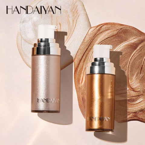 HANDAIYAN 4Colors Shimmer Body Luminizer Bronzer Highlighter Liquid Setting Spray Brighten Glow Pearl White Highlight Makeup