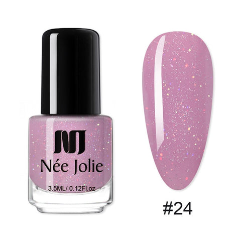 NEE JOLIE 73 Colors Nail Polish Rose Gold Glitter Sequins Nail Art Varnish Color Nail Polish DIY Nail Art varnish 3.5ml