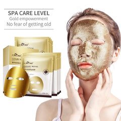 FONCE Gold Mask 5 pieces Moisturizing Lift Stay Up Late Repair Foil Fades Fine Lines Anti wrinkle Gold Facial Mask