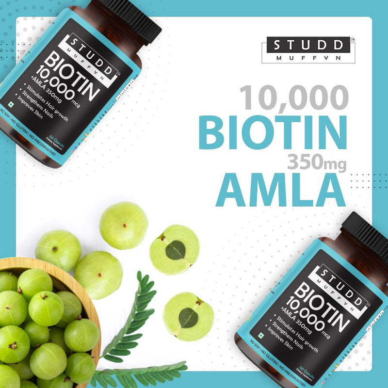 Studd Muffyn Hair Care Combo-Biotin 10000mcg + Amla 350mg and Multivitamins Daily Vitamix blend (Men & Women)