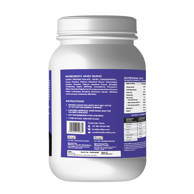 Studd Muffyn Wheylicious ,Concentrate Protein ( Cookies & Cream -1KG / 2 KG )