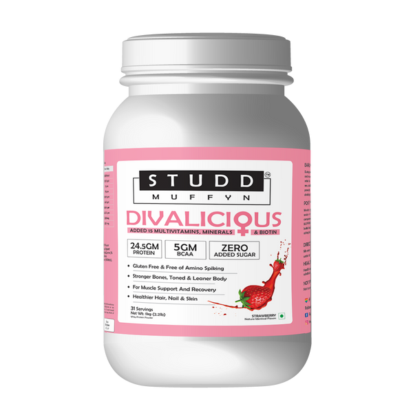 Studd Muffyn Divalicious, Women Protein With Biotin, 15 Multivitamin and Minerals ( Strawberry-1 KG )