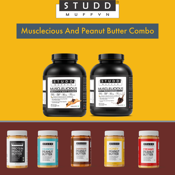 Studd Muffyn Musclelicious 2kg (Weight Gainer ) and Studd Muffyn Peanut butter combo