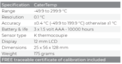 CATERTEMP® THERMOMETER & PROBE