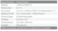 FOOD CHECK THERMOMETER & PROBE