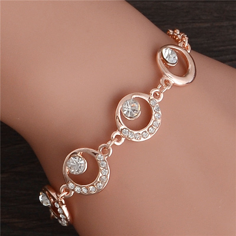Fashion Gold Color Crystal Charm Bracelet