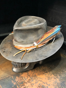 "Vintage  Rare Custom Hat ""Feathery fire """