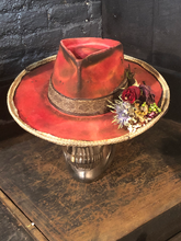 "Load image into Gallery viewer, Vintage Rare Custom Hat , ""RED Rattle Rose"""