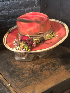 "Vintage Rare Custom Hat , ""RED Rattle Rose"""