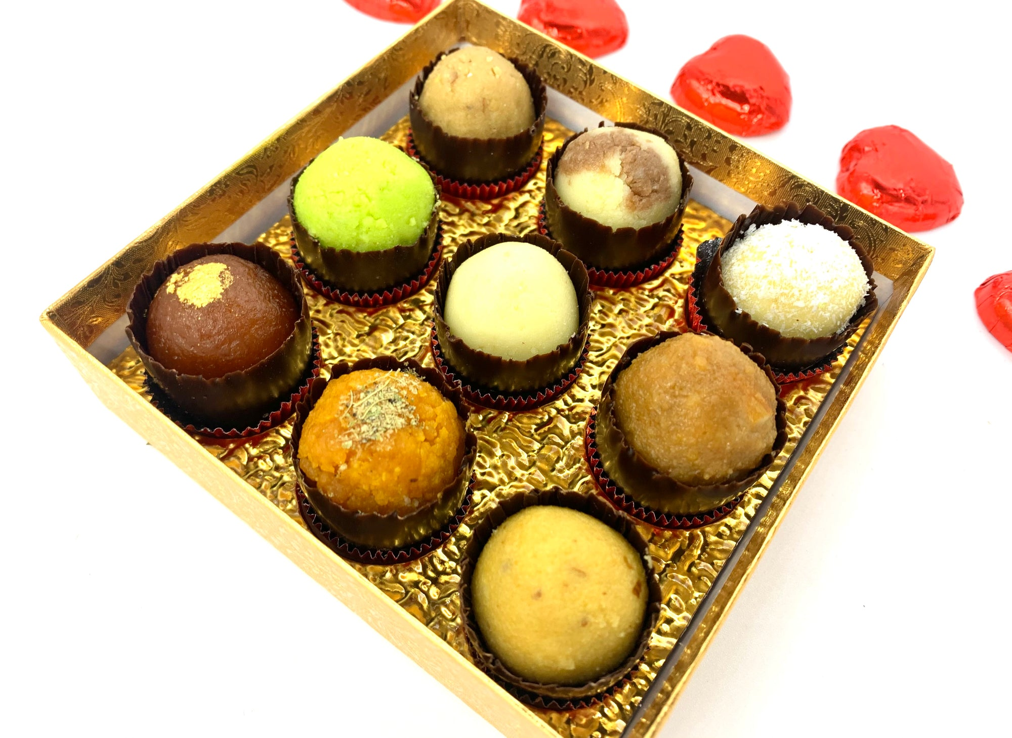 Valentine's Day Mixed Mithai: Gold Gift Box