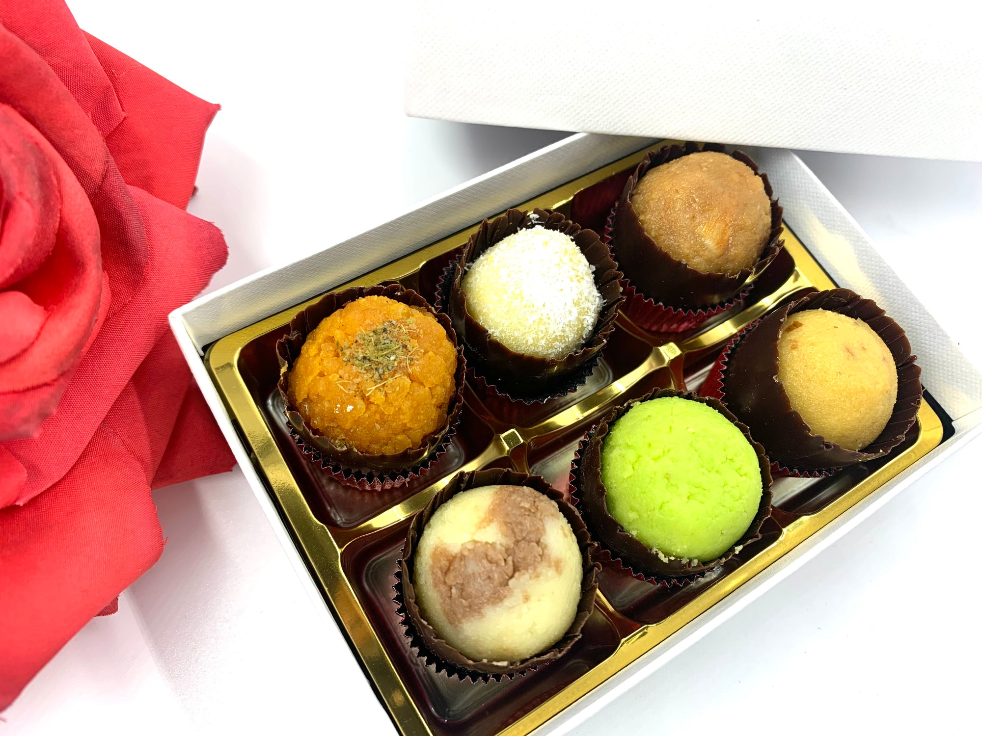 Valentine's Day Mixed Mithai: White Gift Box
