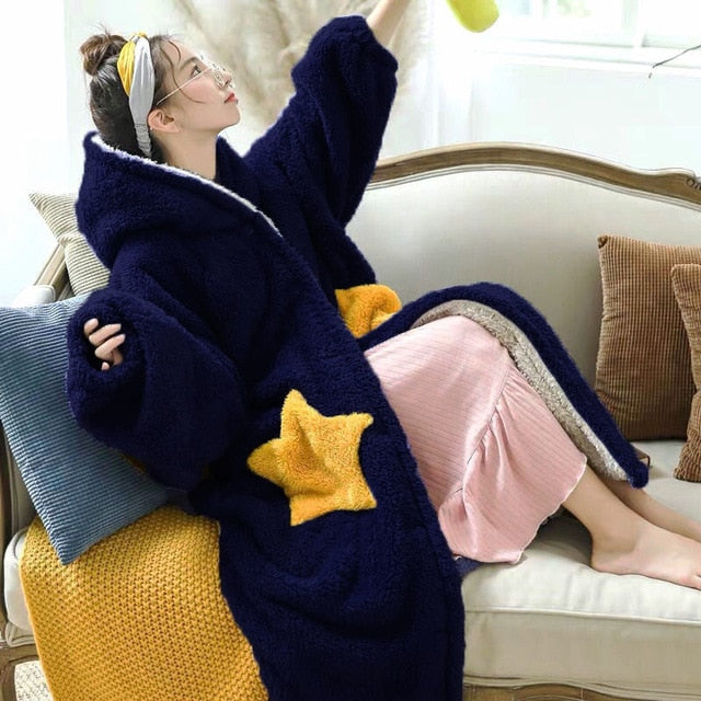 Fun Oversized Hoodie Sweatshirt Fleece Blanket Navy