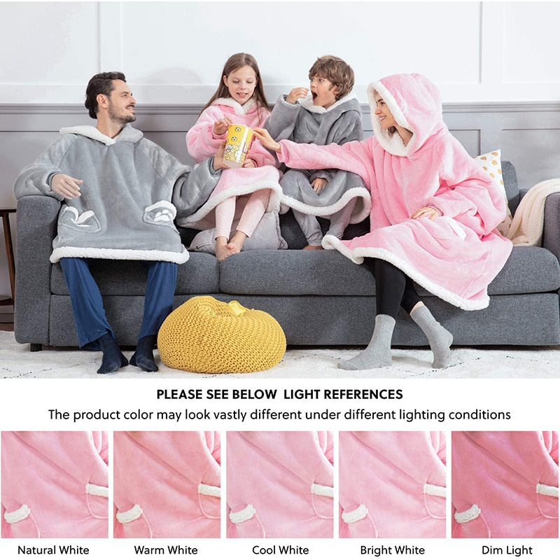 Warm Oversized Blanket Sweatshirt Pink