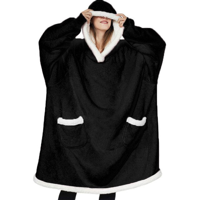 Warm Oversized Blanket Sweatshirt Black