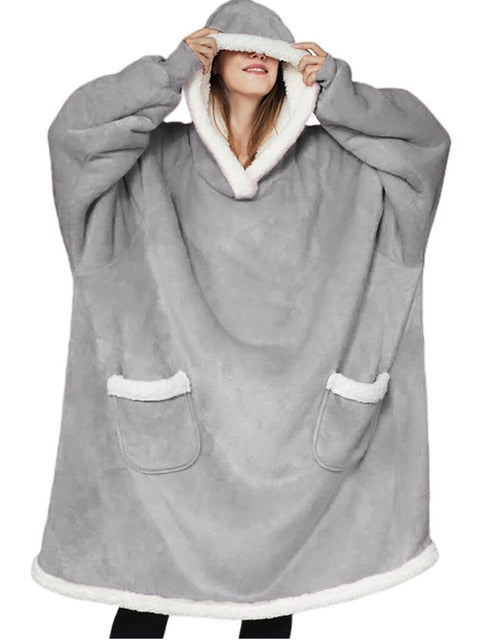 Warm Oversized Blanket Sweatshirt Grey