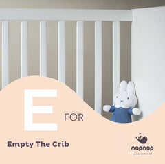E is for Empty the crib baby sleep tips top baby tips by NapNap sleep mats baby sleep aid