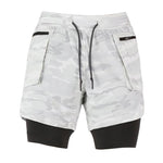 2 in 1 Fitness Shorts - White Camou