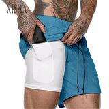 2 in 1 Fitness Shorts - Sky Blue