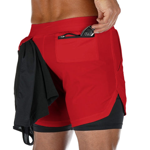 2 in 1 Fitness Shorts - Active Red