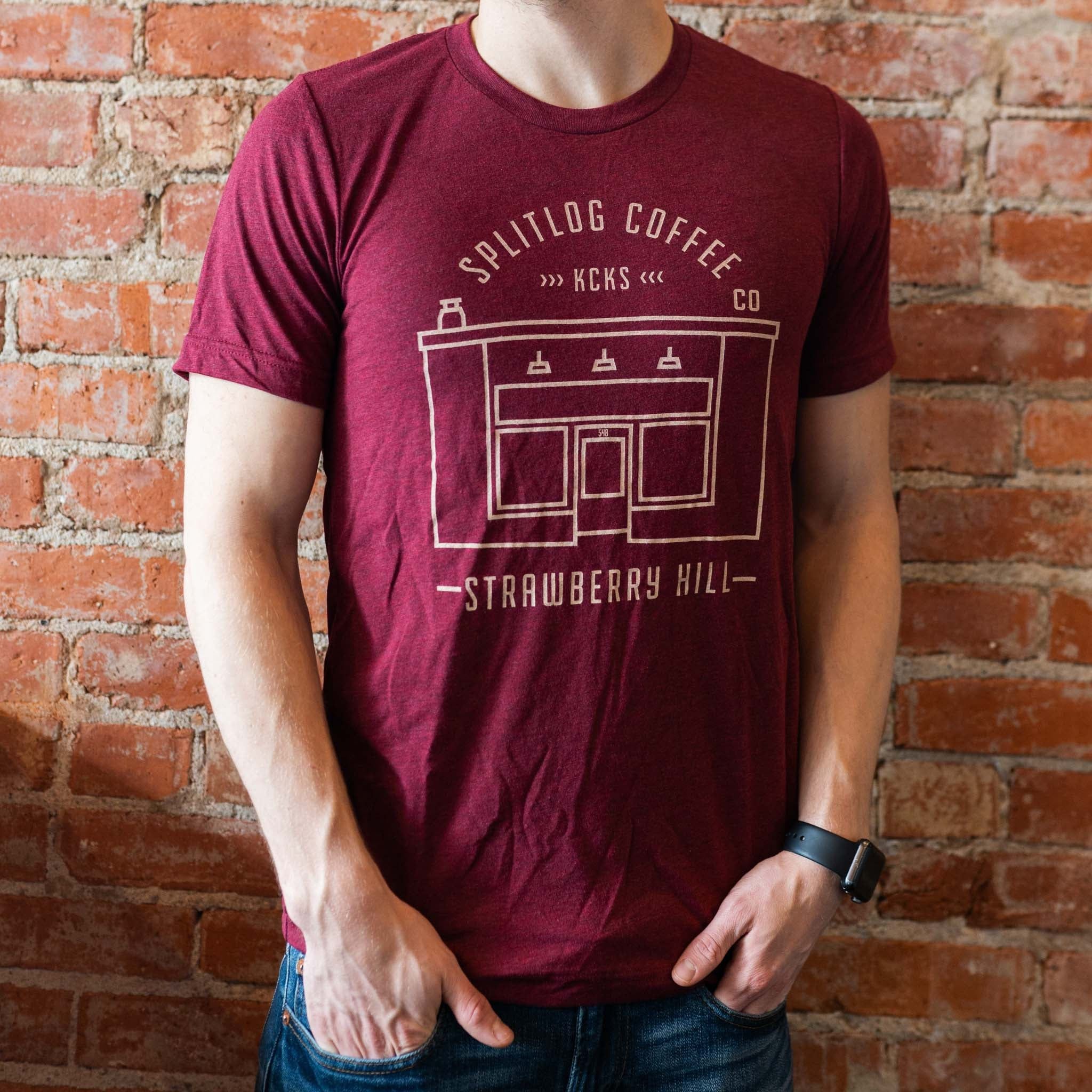 Heathered Maroon Bella Canvas Triblend T-shirt with the minimal Strawberry Hill Storefront design across the front.   True to size.  50% Polyester 25% Algodon 25% Rayon