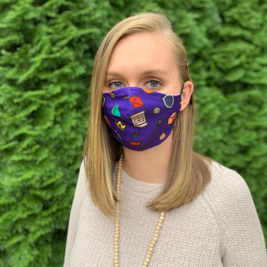 Dungeons and Dragons Purple Face Mask. Comfortable & Soft Fabric Washable Mask. Adjustable Ear Straps