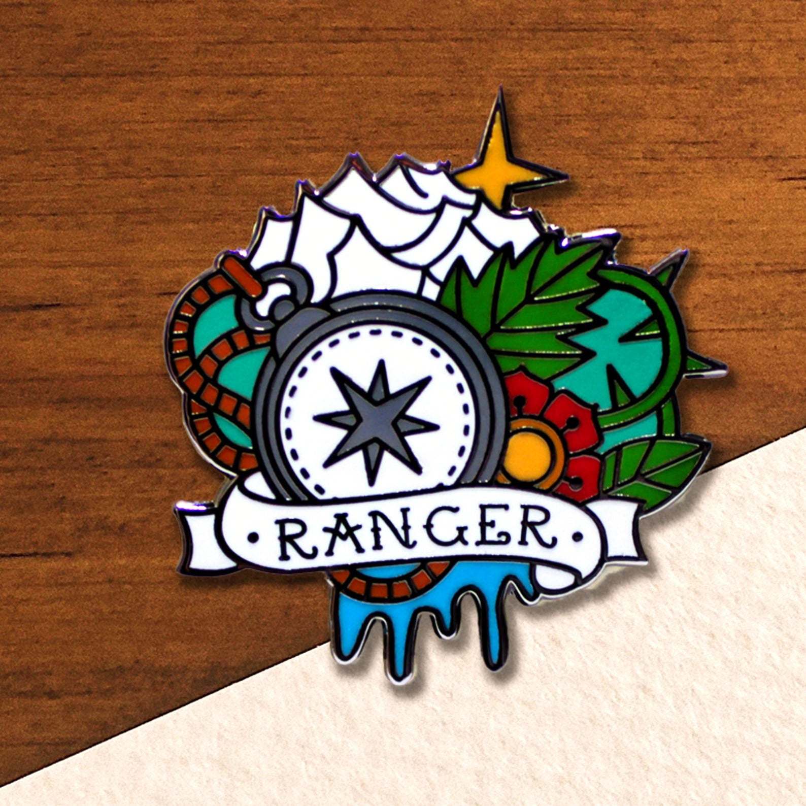 RPG Character Class Pin Handcrafted Pewter Accessories by Doctor Gus SCA LARP Roleplaying Enamel Pin Badge Brooch Sorcerer Class Badge