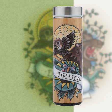 D&D Thermos - Druid Artwork - Bamboo Stainless Steel Thermos Tumbler. Keep coffee and tea hot, beer cold!