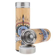 Load image into Gallery viewer, D&D Thermos - Fighter Artwork - Bamboo Stainless Steel Thermos Tumbler. Keep coffee and tea hot, beer cold!