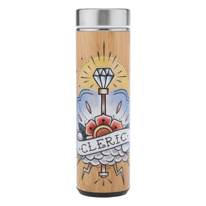 D&D Thermos - Cleric Artwork - Bamboo Stainless Steel Thermos Tumbler. Keep coffee and tea hot, beer cold!