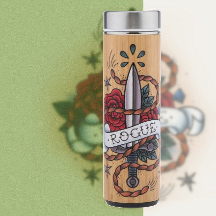 D&D Thermos - Rogue Artwork - Bamboo Stainless Steel Thermos Tumbler. Keep coffee and tea hot, beer cold!
