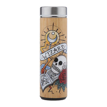 Load image into Gallery viewer, D&D Thermos - Wizard Artwork - Bamboo Stainless Steel Thermos Tumbler. Keep coffee and tea hot, beer cold!