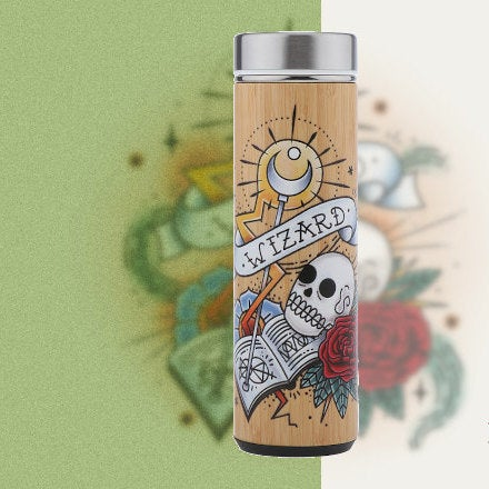 D&D Thermos - Wizard Artwork - Bamboo Stainless Steel Thermos Tumbler. Keep coffee and tea hot, beer cold!
