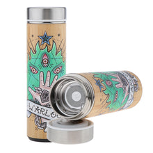 Load image into Gallery viewer, D&D Thermos - Warlock Artwork - Bamboo Stainless Steel Thermos Tumbler. Keep coffee and tea hot, beer cold!