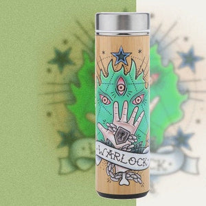 D&D Thermos - Warlock Artwork - Bamboo Stainless Steel Thermos Tumbler. Keep coffee and tea hot, beer cold!