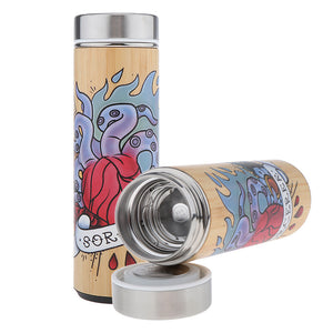 D&D Thermos - Sorcerer Artwork - Bamboo Stainless Steel Thermos Tumbler. Keep coffee and tea hot, beer cold!
