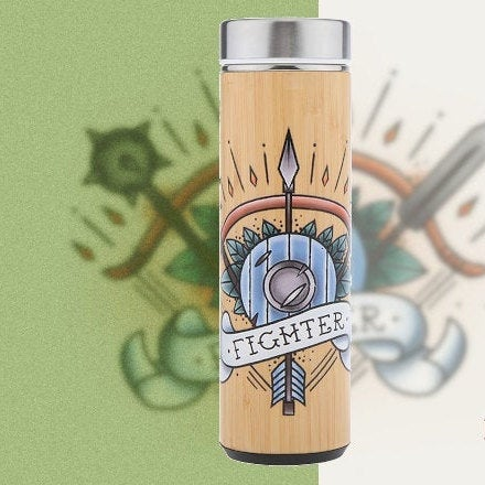 D&D Thermos - Fighter Artwork - Bamboo Stainless Steel Thermos Tumbler. Keep coffee and tea hot, beer cold!
