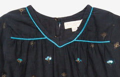 Mia Gold Embellished Little Girl's Navy Dress by Pink Chicken zoom