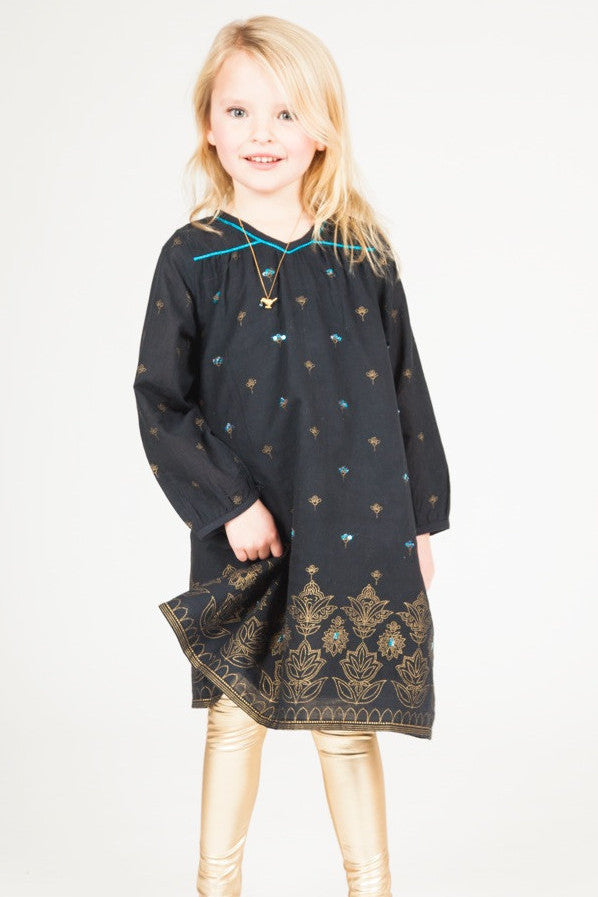 Mia Gold Embellished Little Girl's Navy Dress by Pink Chicken product