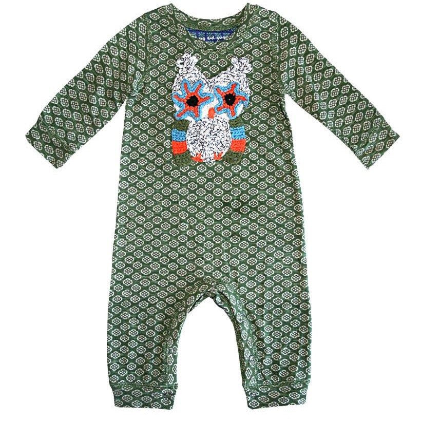 Embroidered Owl Printed Baby Romper by Mimi & Maggie