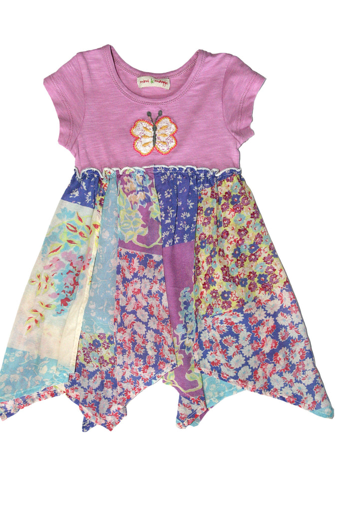 Baby GIrls Hanky Hem Floral Butterfly embrodiered Dress with attached Romper by Mimi & Maggie