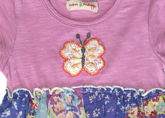 Baby GIrls Hanky Hem Floral Butterfly embrodiered Dress with attached Romper by Mimi & Maggie Butterfly detail