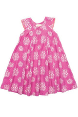 Vibrant Pink Cluster Floral Print Agnes Dress by Pink Chicken Product Shot