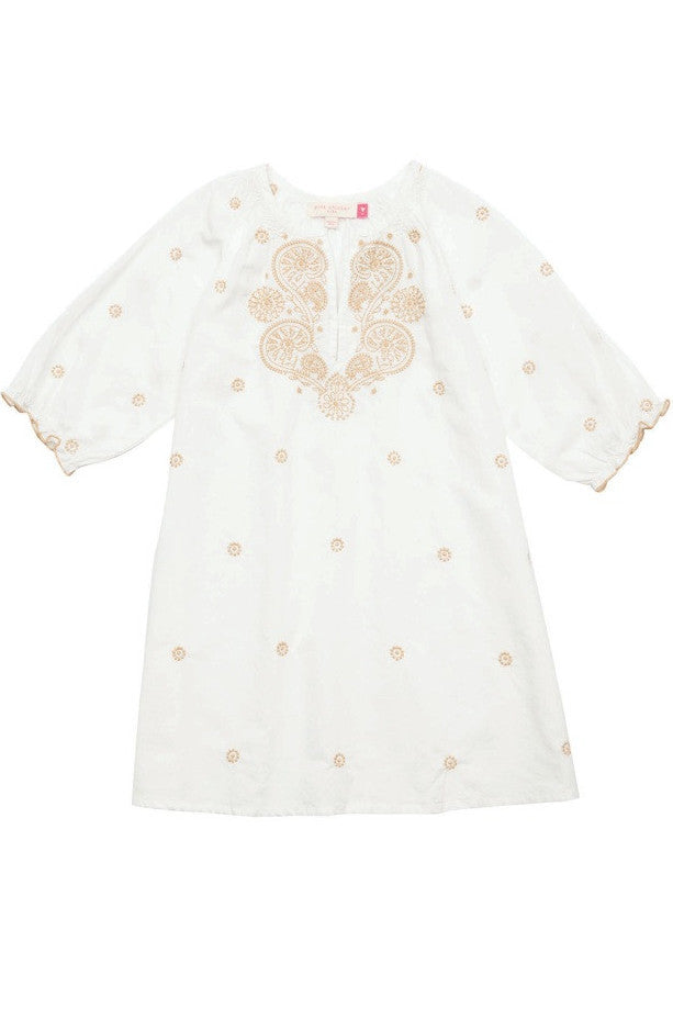 Little GIrl's Antique White and Gold Embroidered Ava Dress by Pink Chicken