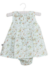 Baby Girl Vintage Baby Blue Print Dress with atached bodysuit by Wheat back view