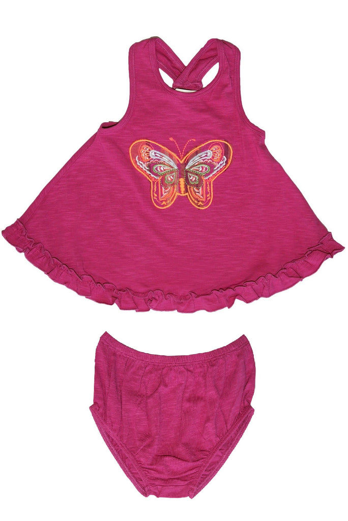 Baby GIrl's Fuschia Embrodered Butterfly 2 PC Set by Mimi & Maggie