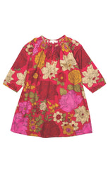 Little GIrl's Elle Cerise Dress in Big Floral Print by Pink Chicken flat