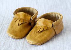Eggnog Brown Leather Moccasins by Starship for Littles front