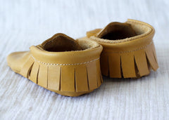 Eggnog Brown Leather Moccasins by Starship for Littles back