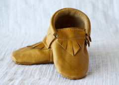 Eggnog Brown Leather Moccasins by Starship for Littles top